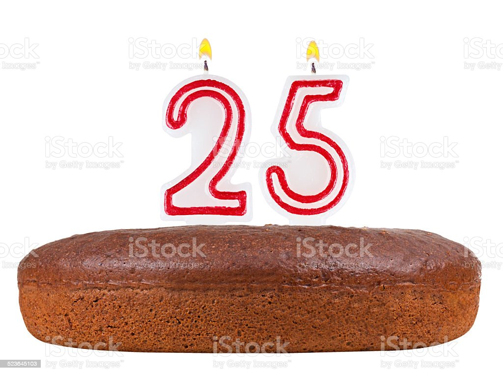 birthday cake with candles number 25 isolated on white stock photo