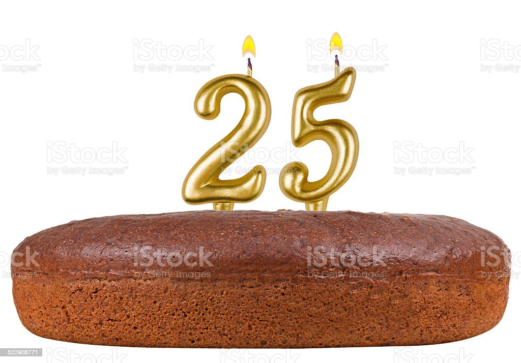 birthday cake with candles number 25 isolated stock photo