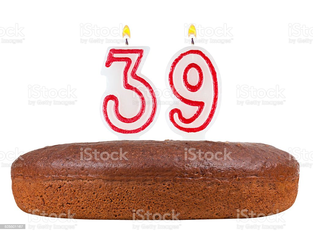 Birthday Cake With Candles Number 39 Isolated On White Stock Photo