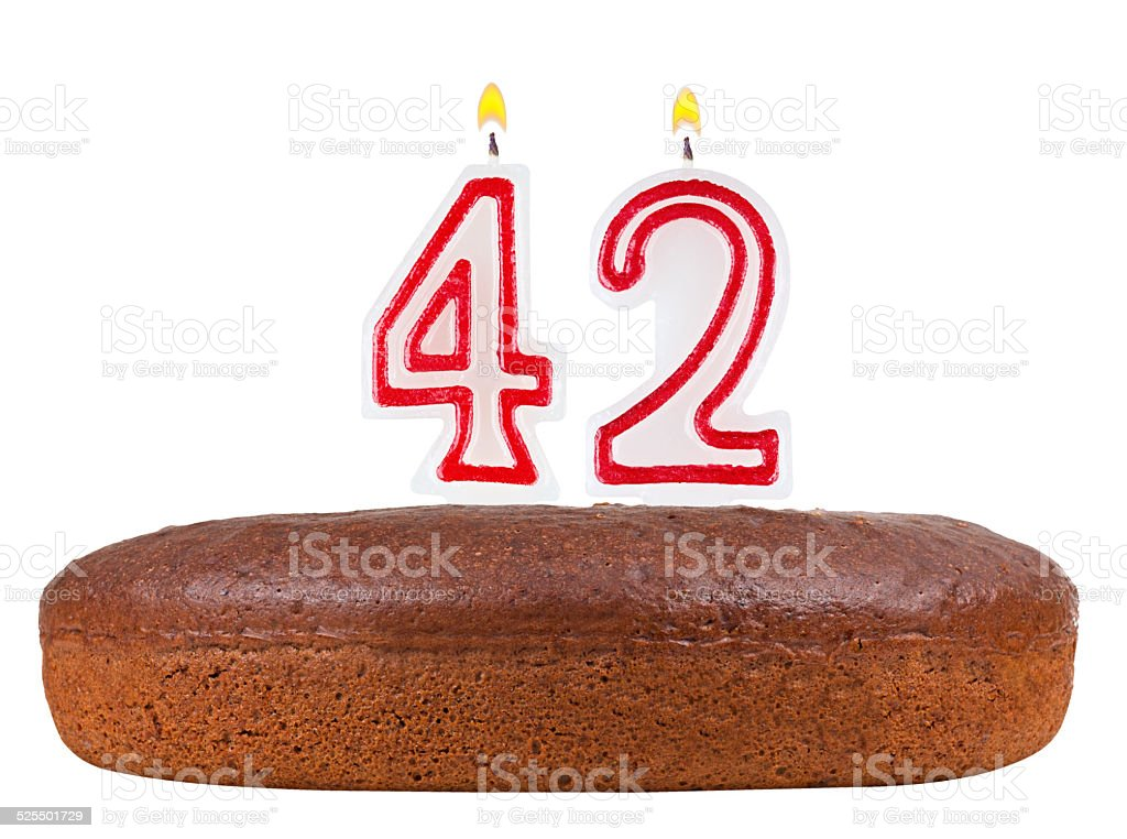 Admirable Birthday Cake With Candles Number 42 Isolated Stock Photo Funny Birthday Cards Online Fluifree Goldxyz