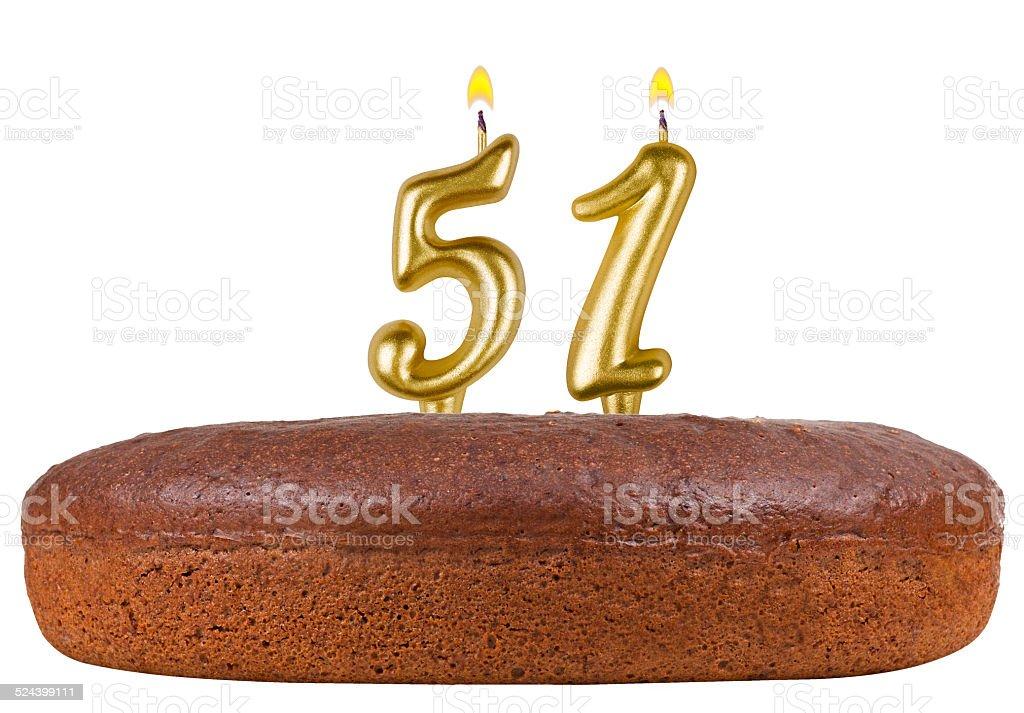 Torta Di Compleanno Con Candele Numero 51 Isolato Fotografie Stock