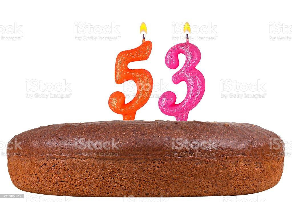 Phenomenal Birthday Cake With Candles Number 53 Isolated Stock Photo Birthday Cards Printable Giouspongecafe Filternl