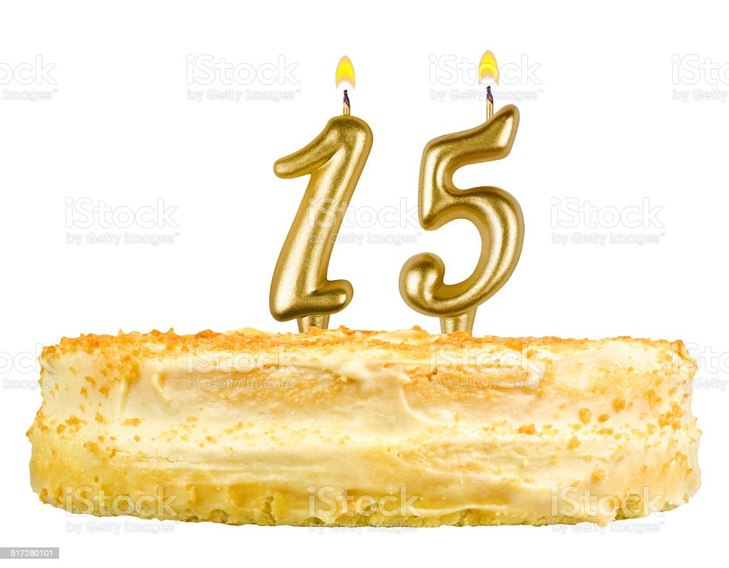 birthday cake with candles number fifteen isolated on white stock photo