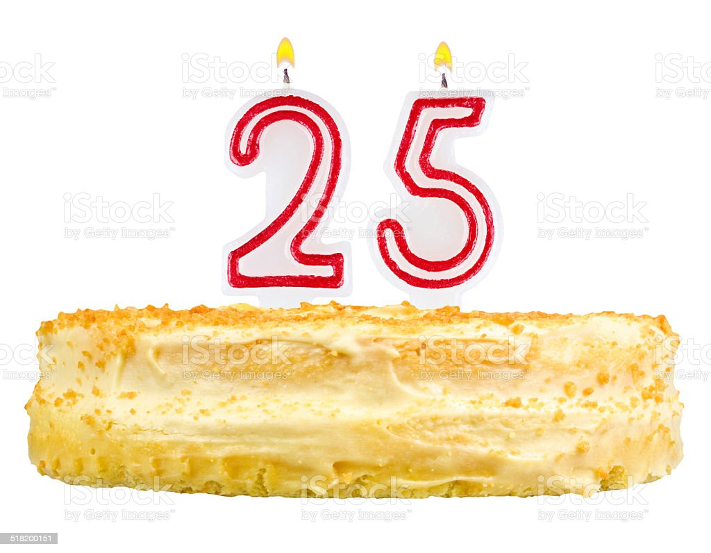 birthday cake with candles number twenty five isolated on white stock photo