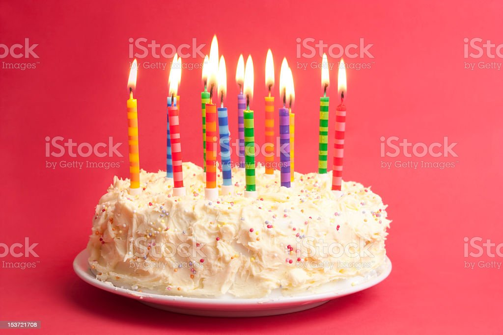 Birthday Cake With Candles On A Red Background