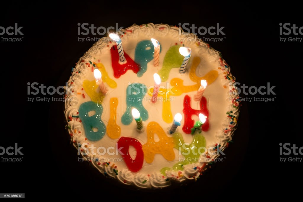 Birthday cake with candles. royalty-free stock photo