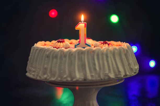 Birthday Cake With Candles Sweet Happy birthday cake decorated with candle ready for party first birthday stock pictures, royalty-free photos & images