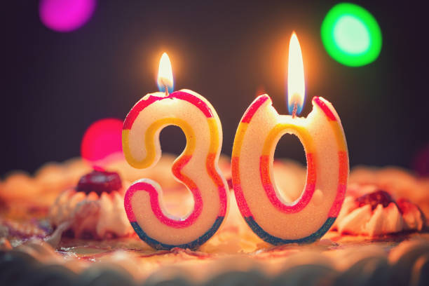 birthday cake with candles - number 30 stock photos and pictures