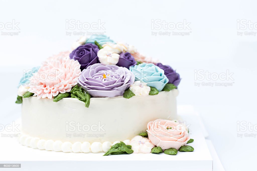 Birthday Cake With Colorful Flowers Isolated Lizenzfreies Stock Foto