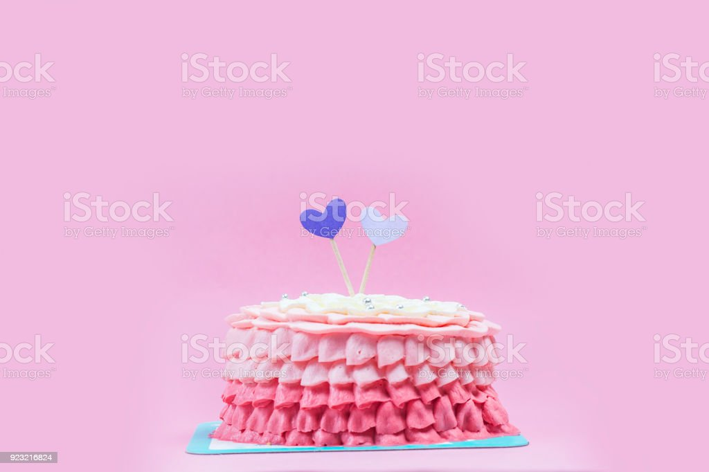 Birthday cake with colorful greeting stock photo