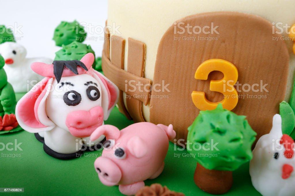 Sensational Birthday Cake With Farm Marzipan Animals Stock Photo Download Funny Birthday Cards Online Unhofree Goldxyz