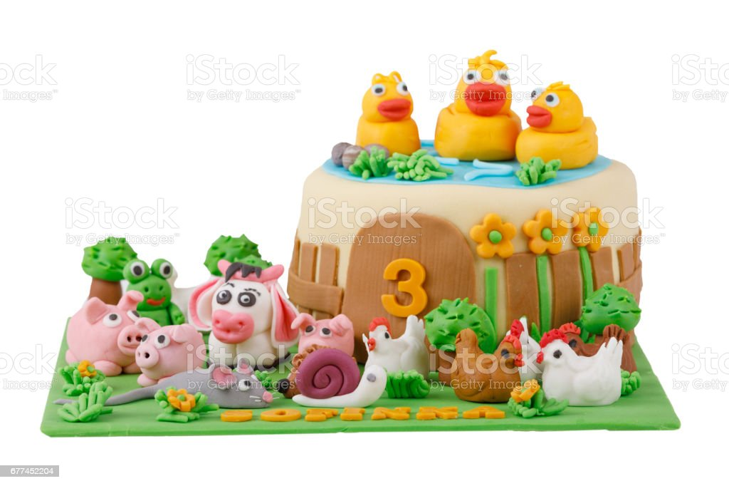 Birthday Cake With Farm Marzipan Animals Stock Photo More Pictures