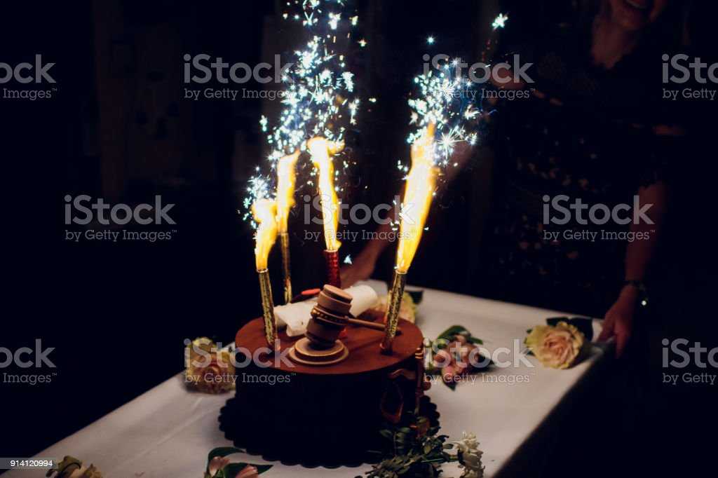 Pleasing Birthday Cake With Fireworks On Table Stock Photo Download Image Funny Birthday Cards Online Alyptdamsfinfo