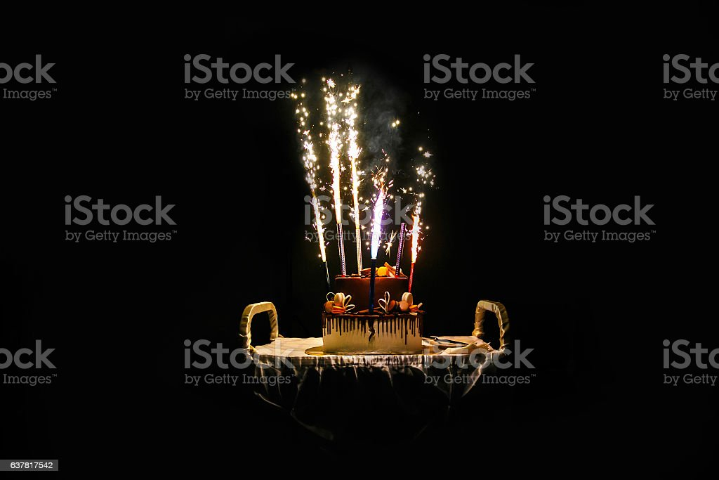 Birthday Cake With Fireworks Stock Photo More Pictures Of