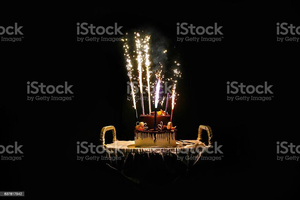Birthday cake with fireworks – Foto