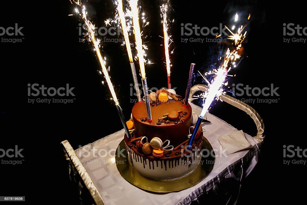 Birthday Cake With Fireworks Stock Photo Istock