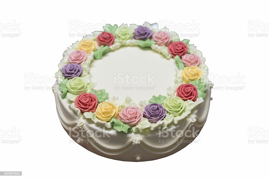 Fotografía De Pastel De Cumpleaños Con Flores Sobre
