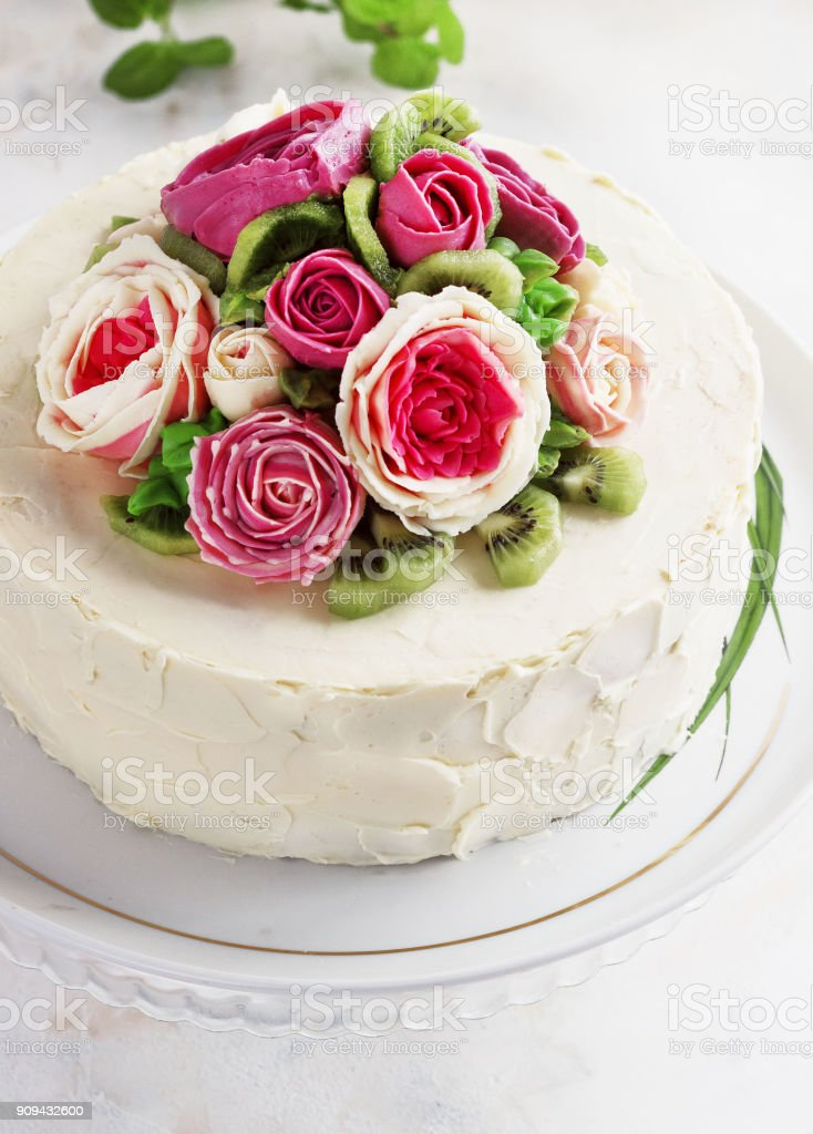 Cool Birthday Cake With Flowers Rose On White Background Stock Photo Funny Birthday Cards Online Elaedamsfinfo