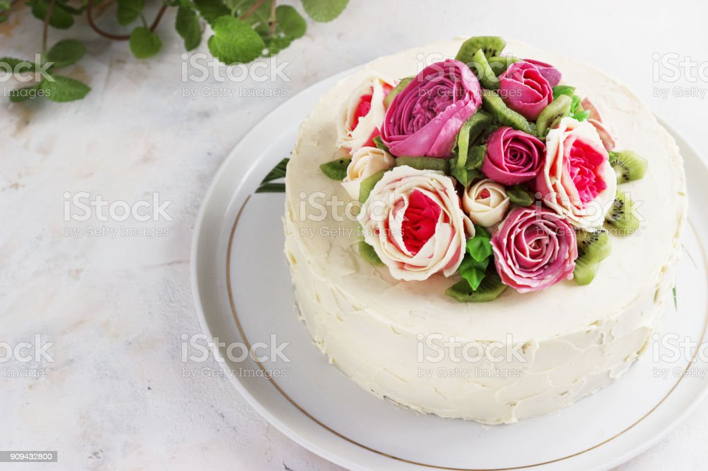 Birthday Cake With Flowers Rose On White Background Stock Photo - Download  Image Now