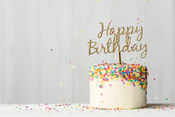 Birthday Cake With Gold Banner Stock Photo