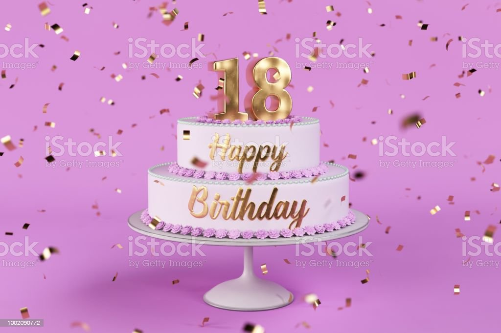 Birthday Cake With Golden Letters And Numer 18 On Top Stock Photo