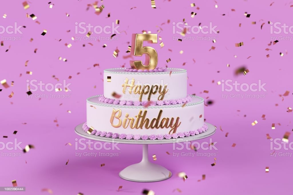 Groovy Birthday Cake With Golden Letters And Numer 5 On Top Stock Photo Birthday Cards Printable Riciscafe Filternl