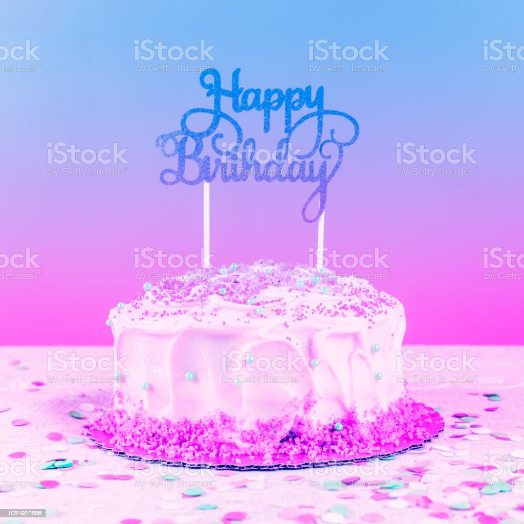 Birthday Cake With Golden Topper Birthday Party Celebration Concept