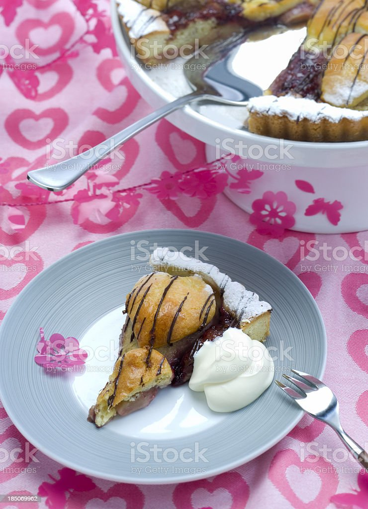 birthday cake with heart shape topping and whipped cream royalty-free stock photo