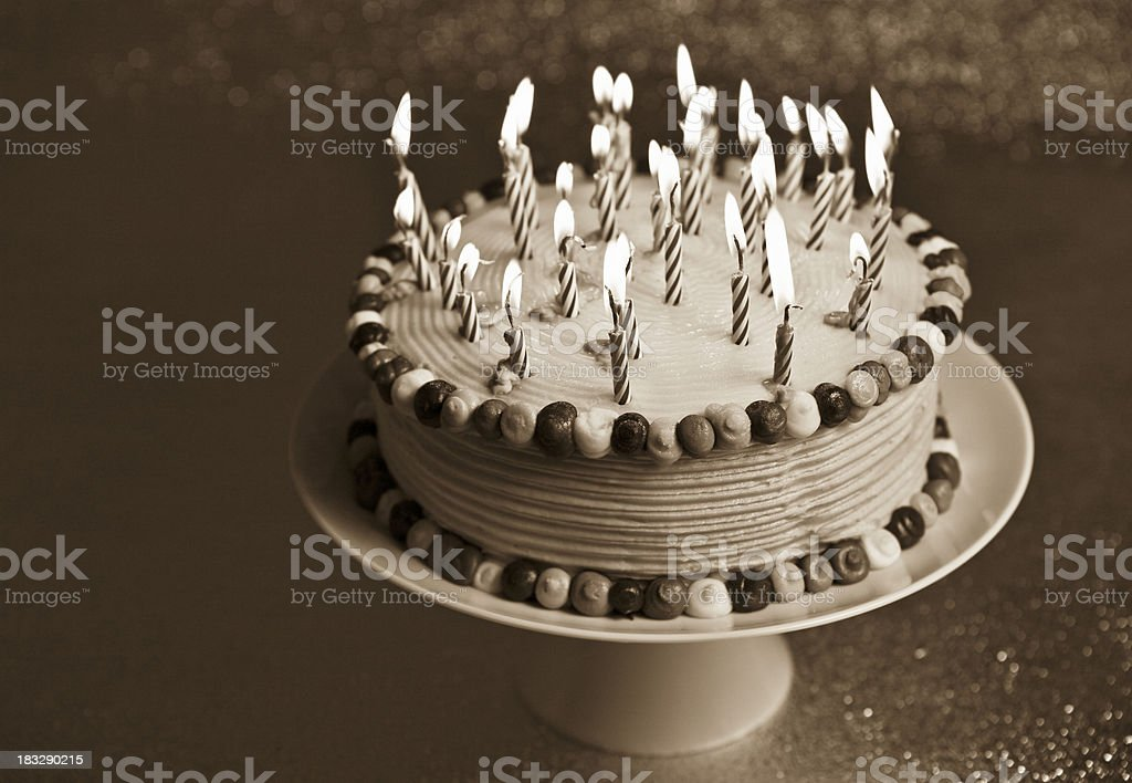 Birthday Cake with Lit Candles (black and white version) royalty-free stock photo