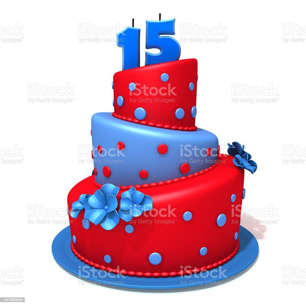 Geburtstagstorte mit Zahl fünfzehn 3d-illustration – Foto