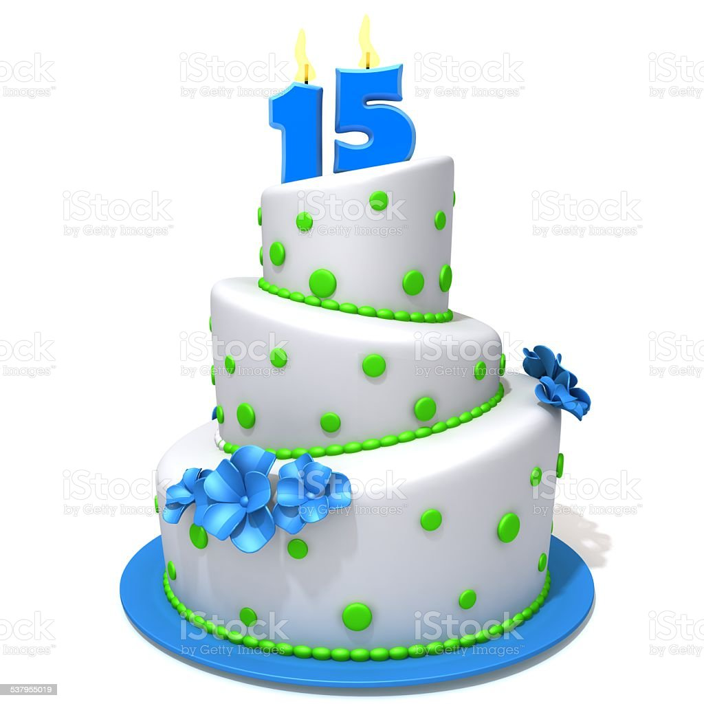 Birthday Cake With Number Fifteen 3d Illustration Stock Photo More