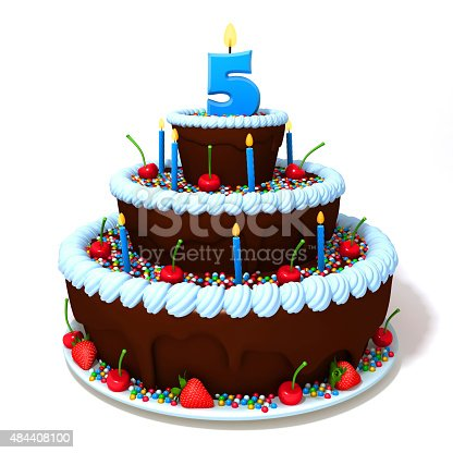 istock Birthday cake with number five 484408100