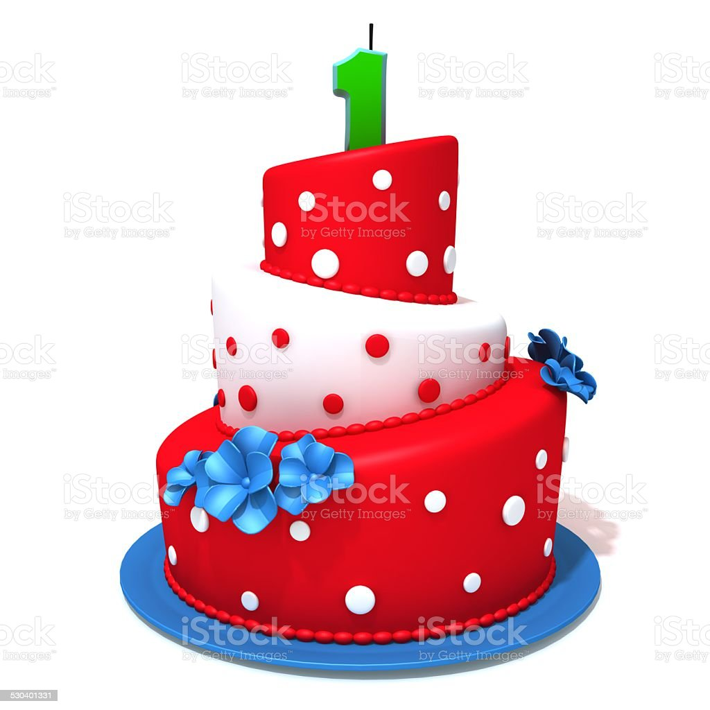 Surprising Birthday Cake With Number One 3D Illustration Stock Photo Personalised Birthday Cards Petedlily Jamesorg