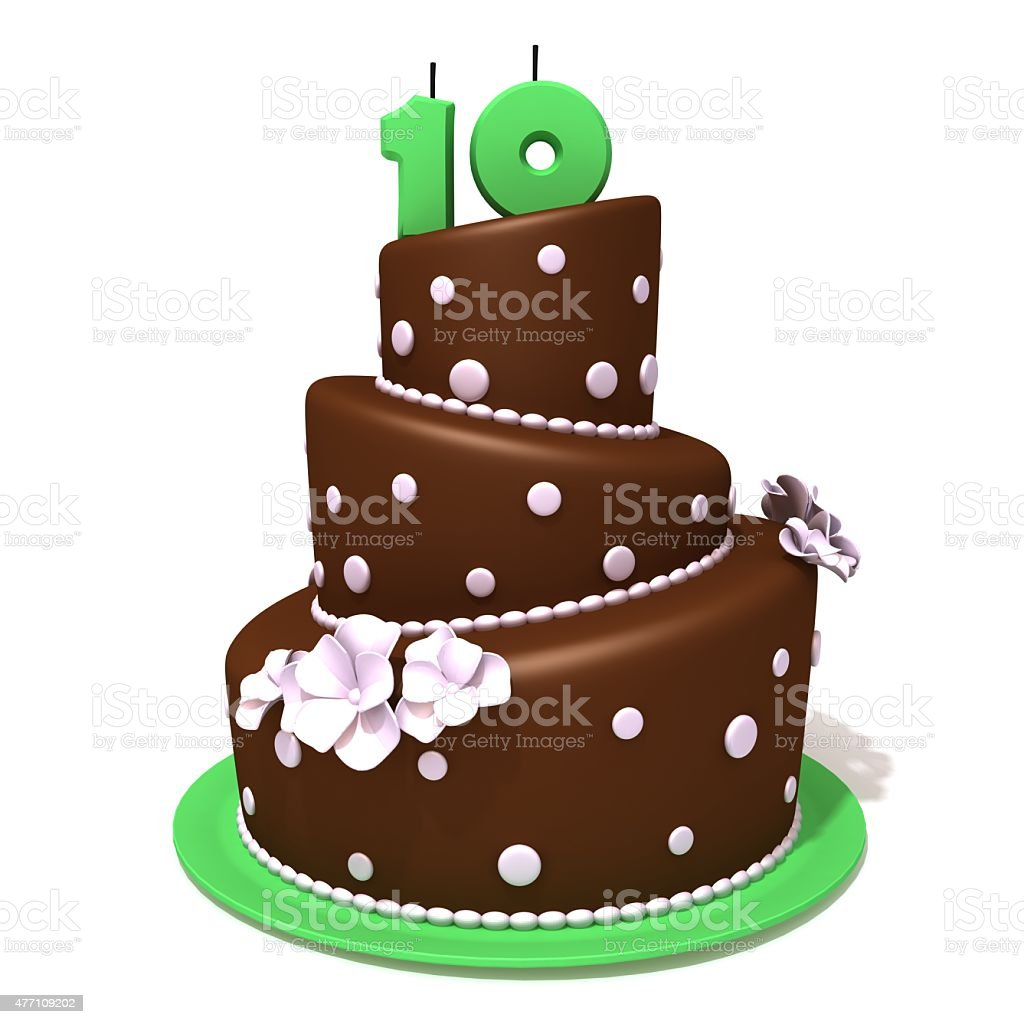 Birthday Cake With Number Ten Royalty Free Stock Photo