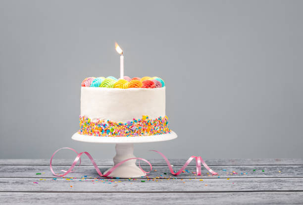 Birthday Cake with one Candle stock photo