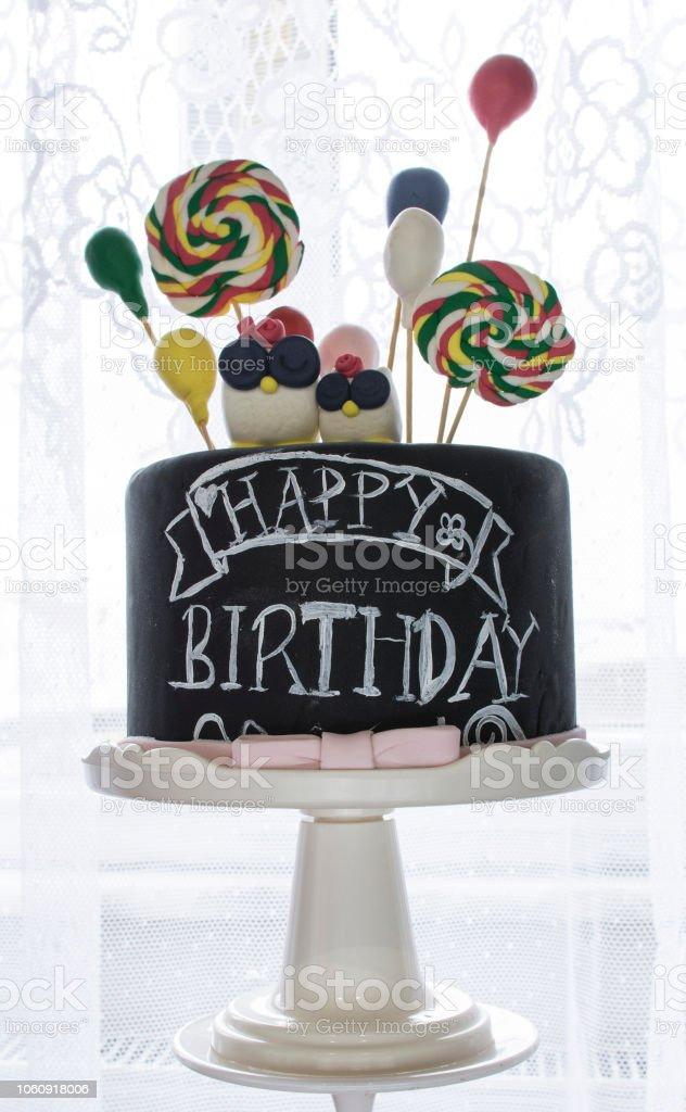 Gâteau d'anniversaire avec hibou - Photo