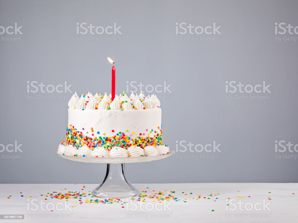 Birthday Cake with Red Candle stock photo