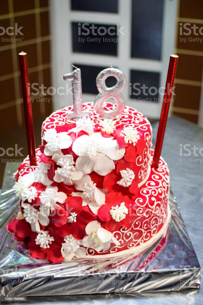 Awesome Birthday Cake With Silver Candles Number 18 Stock Photo Download Funny Birthday Cards Online Inifodamsfinfo