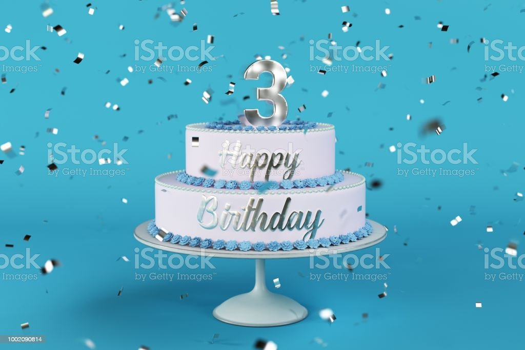 Birthday Cake With Silver Letters And Numer 3 On Top Stock Photo