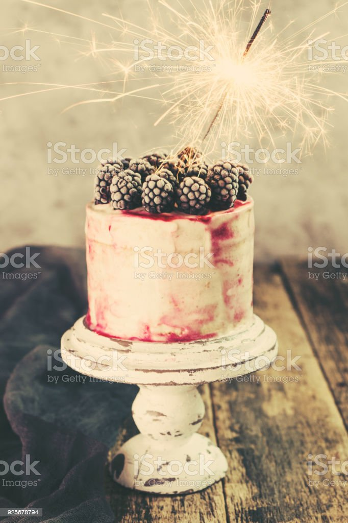 Fabulous Birthday Cake With Sparkler On Wooden Vintage Table Stock Photo Birthday Cards Printable Opercafe Filternl