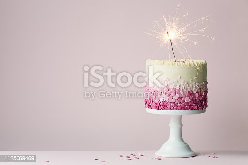 istock Birthday cake with sparkler 1125069469