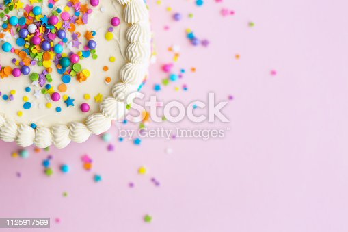 istock Birthday cake with sprinkles 1125917569
