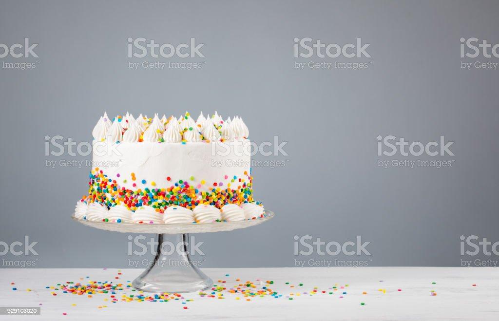 Birthday Cake with Sprinkles stock photo