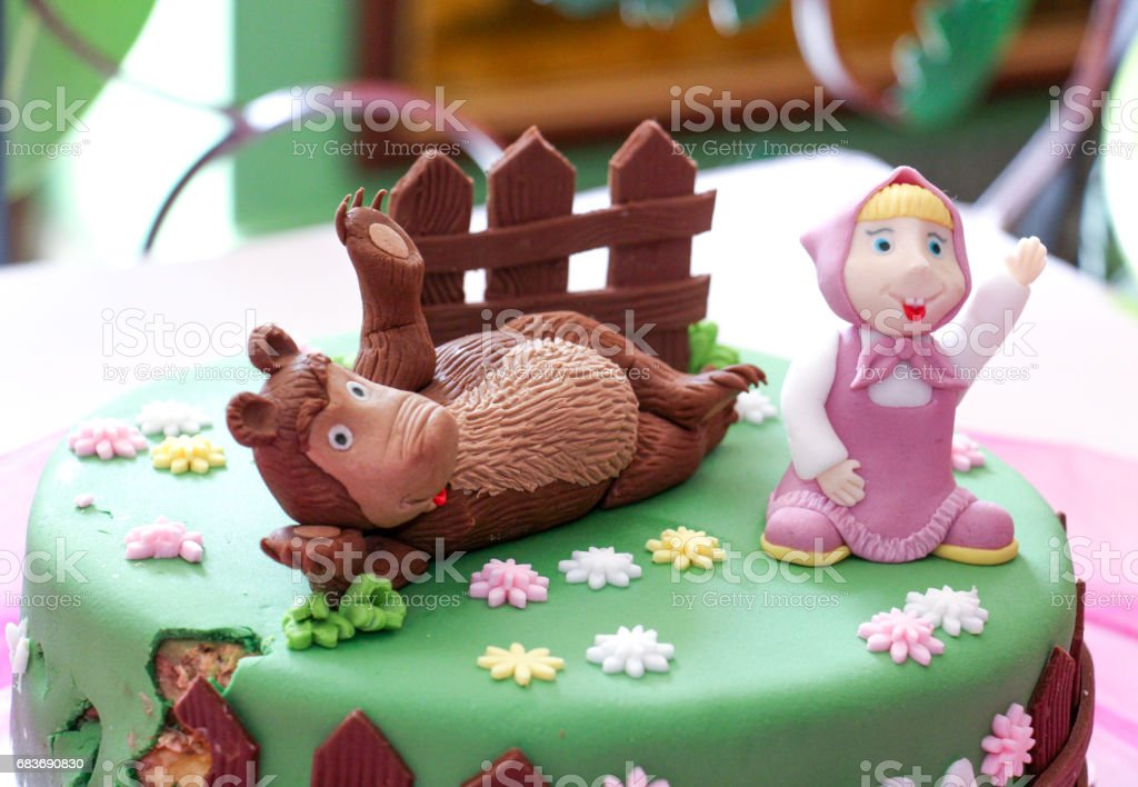 Birthday Cake With Sweet Teddy Bear Funny Homemade Lizenzfreies Stock Foto
