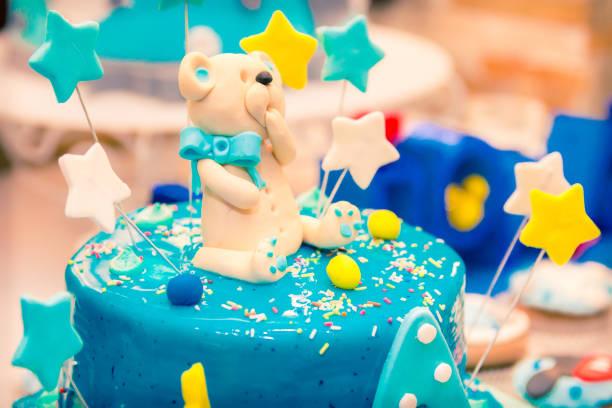 Birthday Cake With Teddy Bear Stock Photo