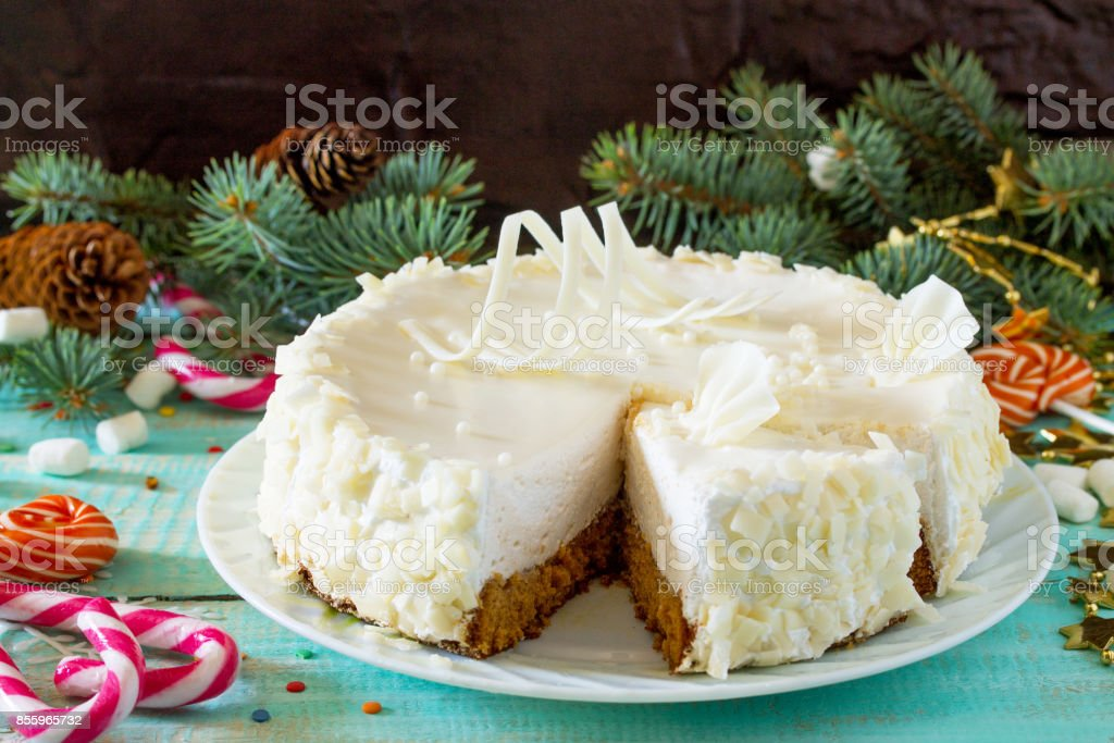Birthday Cake With White Chocolate Icing On A Festive Christmas Table Copy Space Royalty
