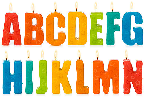 Birthday candle alphabet A to N Birthday candle alphabet, letters A to N. Isolated on a pure white background, no dot in the white area so no need to cut-out e.g. can be dropped directly on to a white web page seemlessly. happy birthday stock pictures, royalty-free photos & images