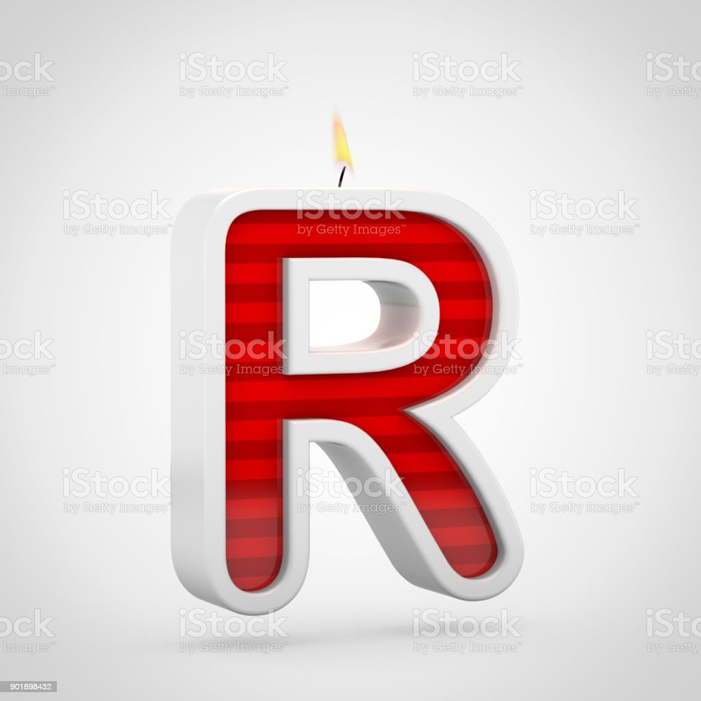 birthday candle letter r uppercase isolated on white background royalty free stock photo