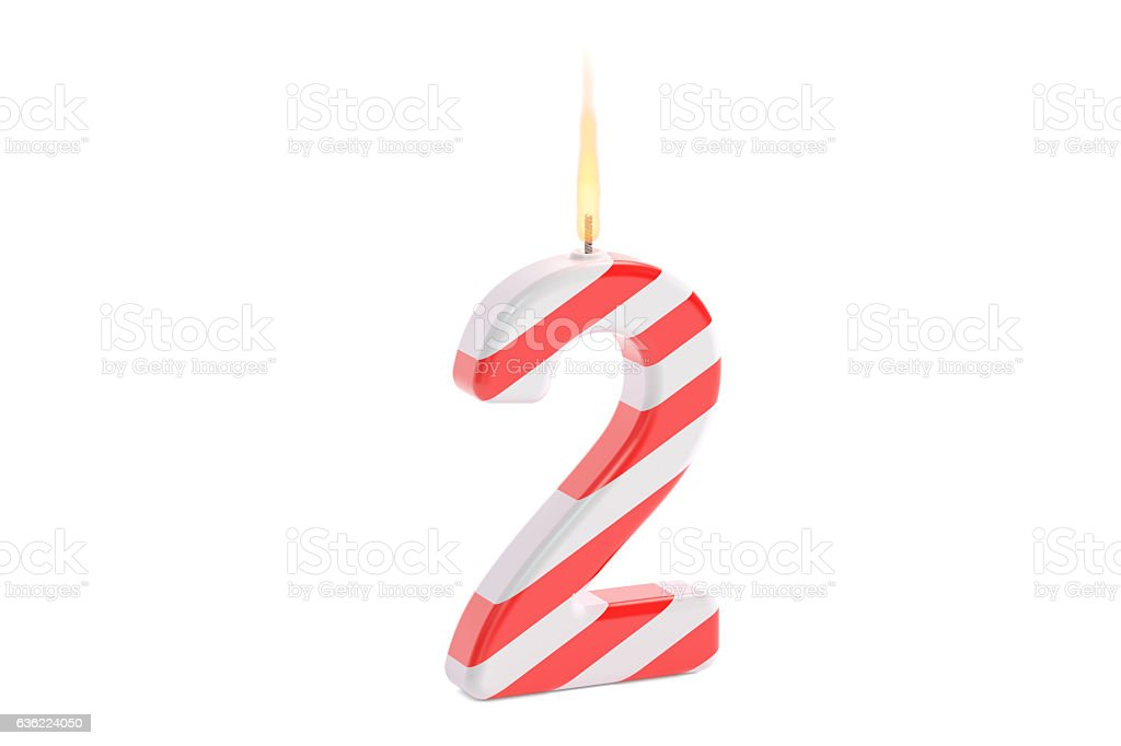 Birthday Candle Number 2 3D Rendering Lizenzfreies Stock Foto