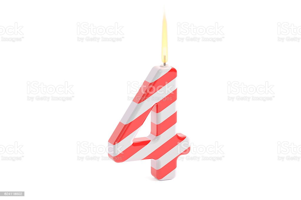Birthday candle with number 4, 3D rendering stock photo